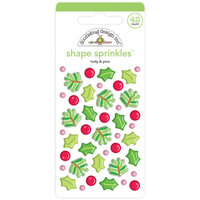 Doodlebug Design - Christmas Magic Collection - Sprinkles - Self Adhesive Enamel Shapes - Holly and Pine