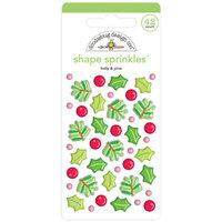 Doodlebug Design - Christmas Magic Collection - Sprinkles - Self Adhesive Enamel Shapes - Holly and Pine