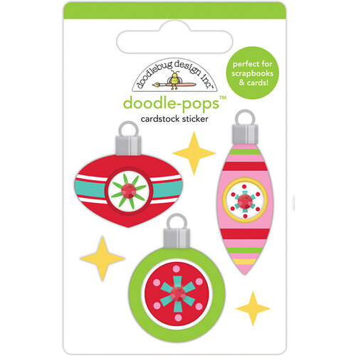 Doodlebug Design - Christmas Magic Collection - Doodle-Pops - 3 Dimensional Cardstock Stickers - Deck The Halls