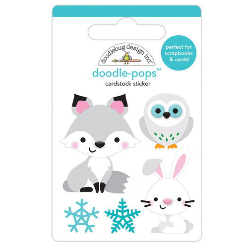 Doodlebug Design - Winter Wonderland Collection - Doodle-Pops - 3 Dimensional Cardstock Stickers - Foxy and Friends