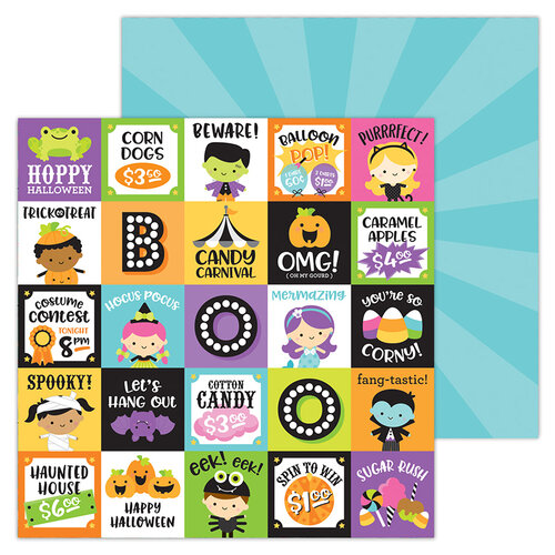 Doodlebug Design - Halloween - Candy Carnival Collection - 12 x 12 Double-Sided Paper - Fun and Games