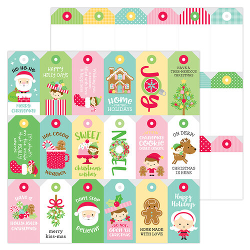 Doodlebug Design - Christmas Magic Collection - 12 x 12 Double Sided Paper - Christmas Tags