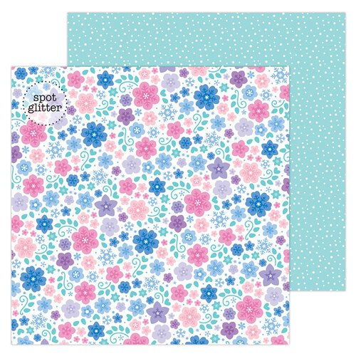 Doodlebug Design - Winter Wonderland Collection - 12 x 12 Double Sided Paper - Snowflowers with Glitter Accents