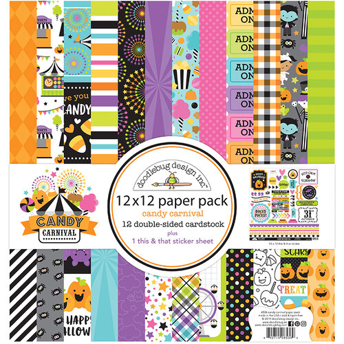 Doodlebug Design - Halloween - Candy Carnival Collection - 12 x 12 Paper Pack