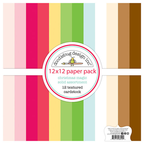 Doodlebug Design - Christmas Magic Collection - 12 x 12 Textured Cardstock Assortment Pack