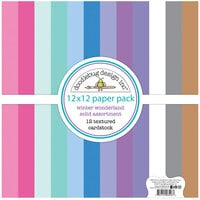 Doodlebug Design - Winter Wonderland Collection - 12 x 12 Textured Cardstock Assortment Paper Pack