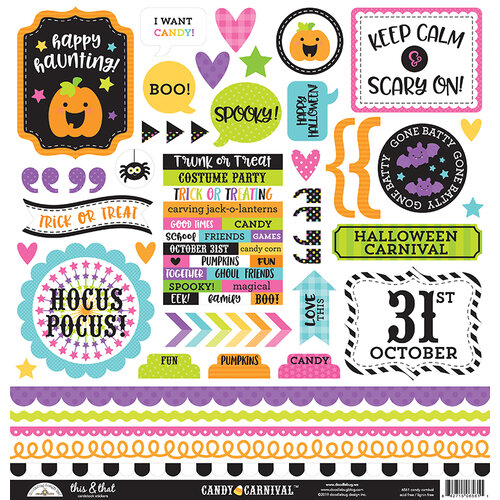 Doodlebug Design - Halloween - Candy Carnival Collection - 12 x 12 Cardstock Stickers - This and That