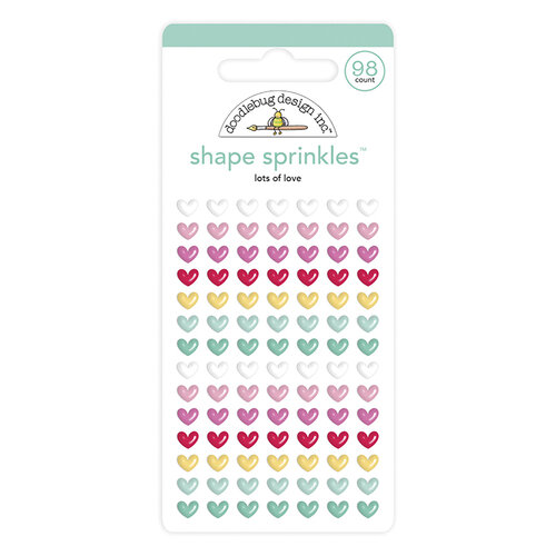 Doodlebug Design - Love Notes Collection - Sprinkles - Self-Adhesive Enamel Shapes - Lots Of Love Shape