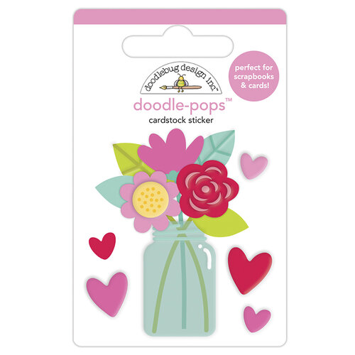 Doodlebug Design - Love Notes Collection - Doodle-Pops - 3 Dimensional Cardstock Stickers - Love You Bunches