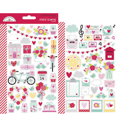 Doodlebug Design - Love Notes Collection - Cardstock Stickers - Mini Icons