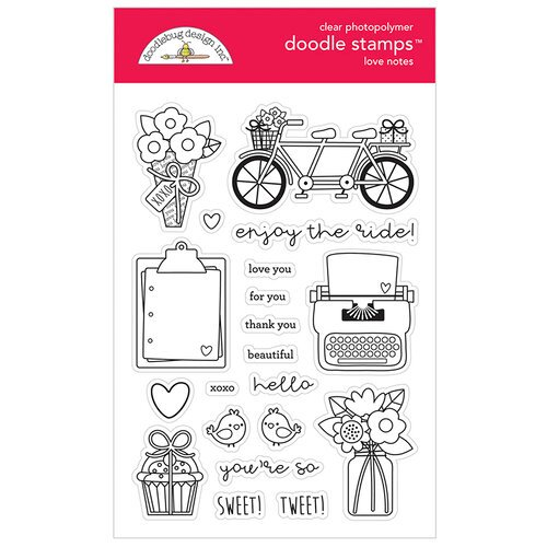 Doodlebug Design - Love Notes Collection - Doodle Stamps - Clear Photopolymer Stamps