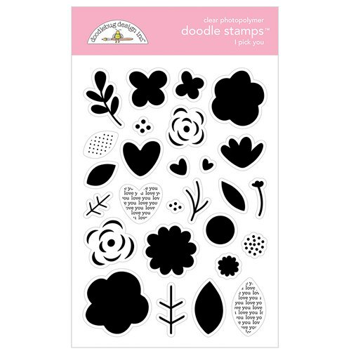 Doodlebug Design - Love Notes Collection - Doodle Stamps - Clear Photopolymer Stamps - I Pick You