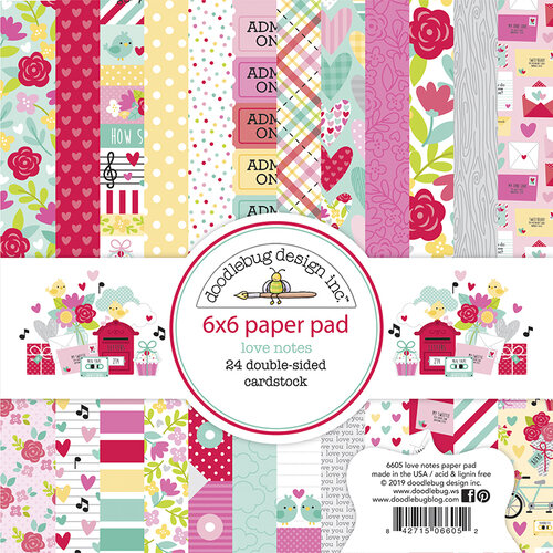 Doodlebug Design - Love Notes Collection - 6 x 6 Paper Pad