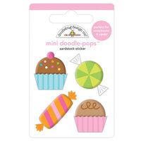 Doodlebug Design - Hey Cupcake Collection - Mini Doodle-Pops - 3 Dimensional Cardstock Stickers - Sweet Celebration