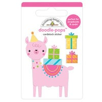 Doodlebug Design - Hey Cupcake Collection - Doodle-Pops - 3 Dimensional Cardstock Stickers - Party Llama