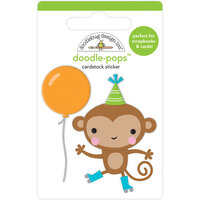 Doodlebug Design - Party Time Collection - Doodle-Pops - 3 Dimensional Cardstock Stickers - Monkey Business