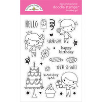 Doodlebug Design - Hey Cupcake Collection - Clear Photopolymer Stamps - Birthday Girl