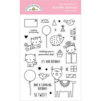 Doodlebug Design - Hey Cupcake Collection - Clear Photopolymer Stamps - Party Animals - Girl