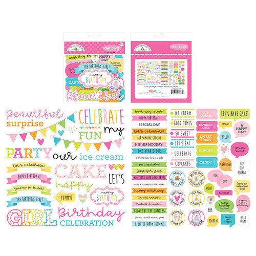 Doodlebug Design - Hey Cupcake Collection - Chit Chat - Die Cut Cardstock Pieces