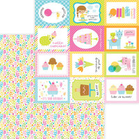 Doodlebug Design - Hey Cupcake Collection - 12 x 12 Double Sided Paper - Birthday Bash