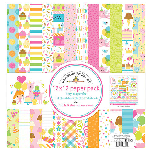 Doodlebug Design - Hey Cupcake Collection - 12 x 12 Paper Pack