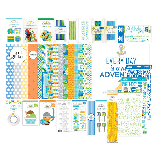 Doodlebug Design - Party Time Collection - Paper Plus Value Pack - Birthday Boy