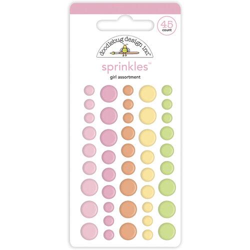 Doodlebug Design - Bundle of Joy Collection - Self Adhesive Assortment Sprinkles - Baby Girl
