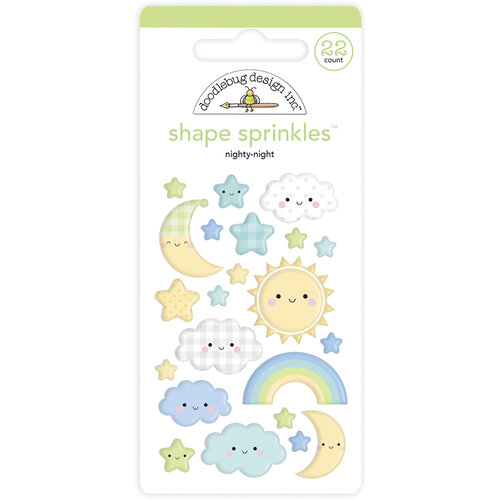 Doodlebug Design - Special Delivery Collection - Self Adhesive Shape Sprinkles - Nighty Night