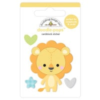 Doodlebug Design - Special Delivery Collection - Doodle-Pops - 3 Dimensional Cardstock Stickers - Lovable Lion
