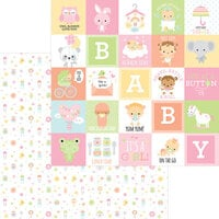 Doodlebug Design - Bundle of Joy Collection - 12 x 12 Double Sided Paper - Binkies and Bottles