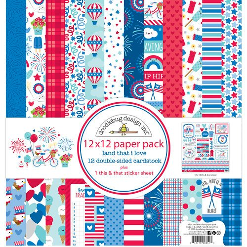Doodlebug Design - Land That I Love Collection - 12 x 12 Paper Pack