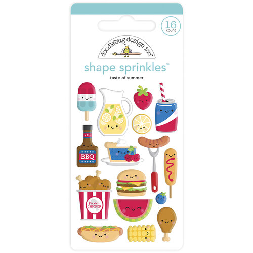 Doodlebug Design - Bar-B-Cute Collection - Self Adhesive Shape Sprinkles - Taste Of Summer
