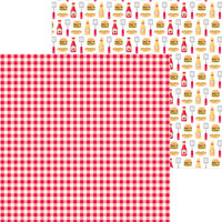 Doodlebug Design - Bar-B-Cute Collection - 12 x 12 Double Sided Paper - Picnic Plaid