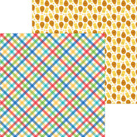 Doodlebug Designs - Bar-B-Cute Collection - 12 x 12 Double Sided Paper - Primary Plaid