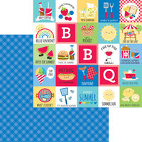 Doodlebug Designs - Bar-B-Cute Collection - 12 x 12 Double Sided Paper - Blueberry Plaid