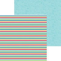 Doodlebug Designs - Bar-B-Cute Collection - 12 x 12 Double Sided Paper - Sno Cone Stripe