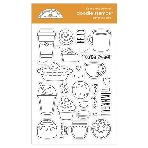 Doodlebug Design - Pumpkin Spice Collection - Clear Photopolymer Stamps - Pumpkin Spice