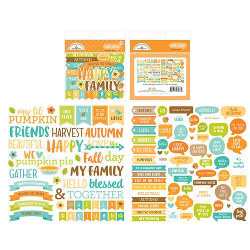Doodlebug Design - Pumpkin Spice Collection - Odds and Ends - Die Cut Cardstock Pieces - Chit Chat
