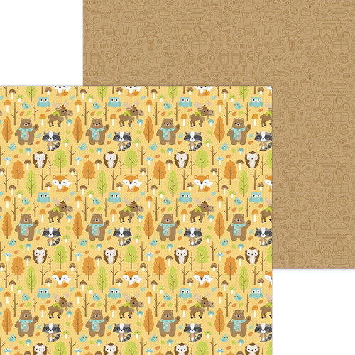 Doodlebug Design - Pumpkin Spice Collection - 12 x 12 Double Sided Paper - Forest of Friends
