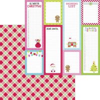Doodlebug Design - Night Before Christmas Collection - 12 x 12 Double Sided Paper - Santa Stocking