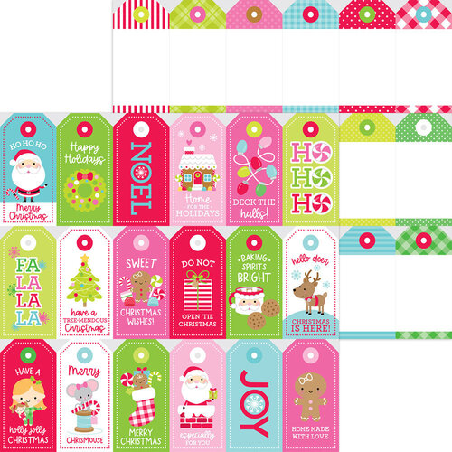 Doodlebug Design - Night Before Christmas Collection - 12 x 12 Double Sided Paper - Gift Tags