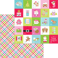 Doodlebug Design - Night Before Christmas Collection - 12 x 12 Double Sided Paper - Cozy Quilt