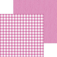 Doodlebug Design - Monochromatic Collection - 12 x 12 Double Sided Paper - Bubblegum Buffalo Check