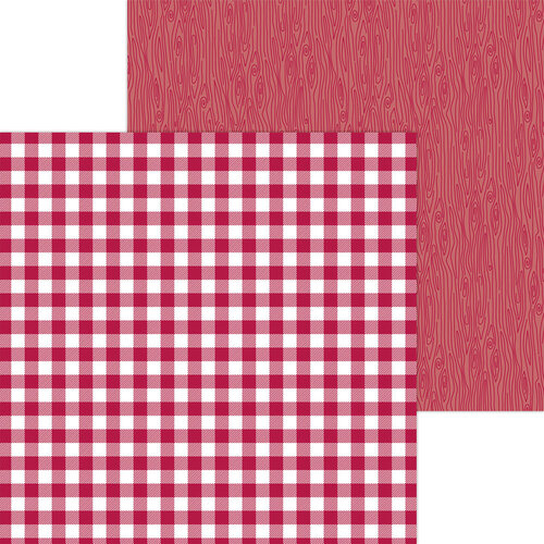 Doodlebug Design - Monochromatic Collection - 12 x 12 Double Sided Paper - Ruby Buffalo Check