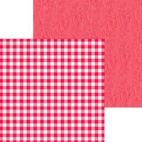 Doodlebug Design - Monochromatic Collection - 12 x 12 Double Sided Paper - Ladybug Buffalo Check