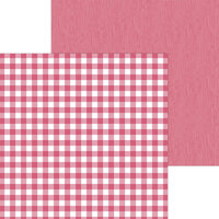 Doodlebug Design - Monochromatic Collection - 12 x 12 Double Sided Paper - Cherry Buffalo Check