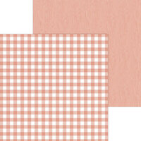 Doodlebug Design - Monochromatic Collection - 12 x 12 Double Sided Paper - Coral Buffalo Check