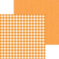 Doodlebug Design - Monochromatic Collection - 12 x 12 Double Sided Paper - Mandarin Buffalo Check