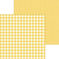 Doodlebug Design - Monochromatic Collection - 12 x 12 Double Sided Paper - Bumblebee Buffalo Check