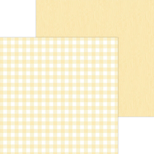 Doodlebug Design - Monochromatic Collection - 12 x 12 Double Sided Paper - Lemon Buffalo Check